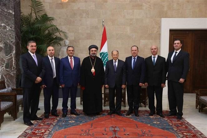 الرئيس عون التقى راعي ابرشية السريان في زحلة والبقاع المطران بولس سفر على رأس وفد من الطائفة