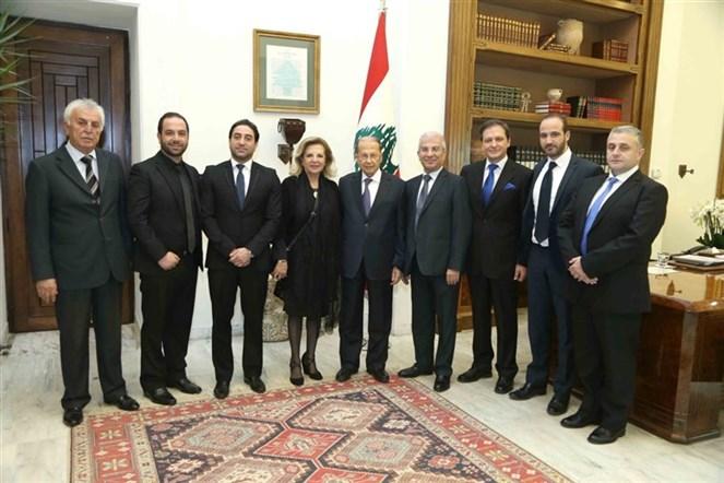 الرئيس عون استقبل النائب الدكتور ناجي غاريوس مع عائلة المرحوم الفنان ملحم بركات