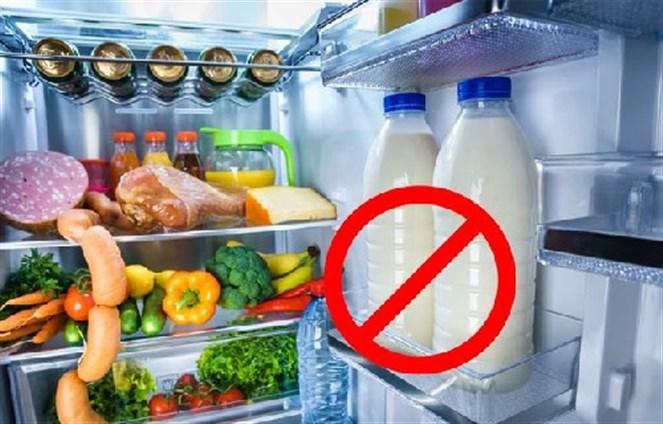 Image result for لا تضعي الحليب الطازج في باب الثلاجة!
