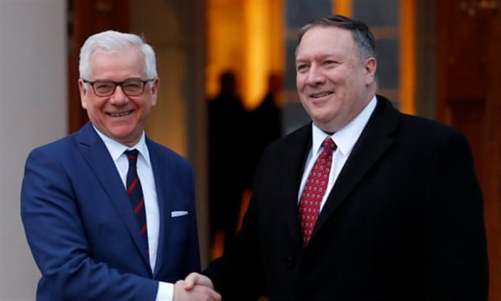 Poland's foreign minister, Jacek Czaputowicz, left, greets the US secretary of state, Mike Pompeo, in Warsaw. Photograph: Kacper Pempel/Reuters